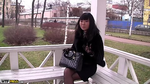 Elegant little asian teen Candy Vivian waiting for her date in public and make out session at home