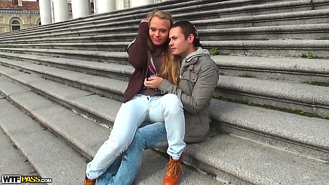 Outdoors on the public stairs on the street with feeling the romance in the air teen picked up and invited over Nestee Shy