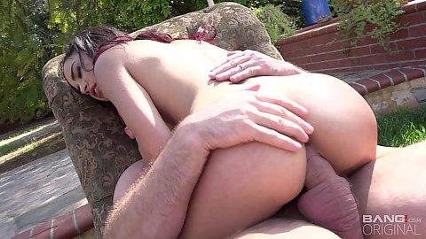 Backyard breathtaking young latina nubile entering vaginal hole with oral Maya Bijou