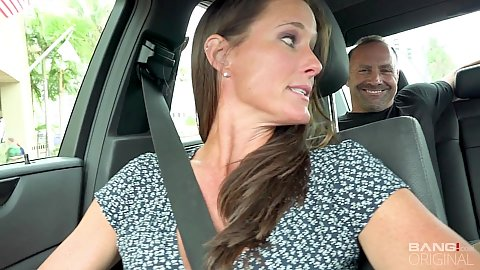 Driving around with milf Sofie Marie in our car talking to strangers and strips naked once we get home
