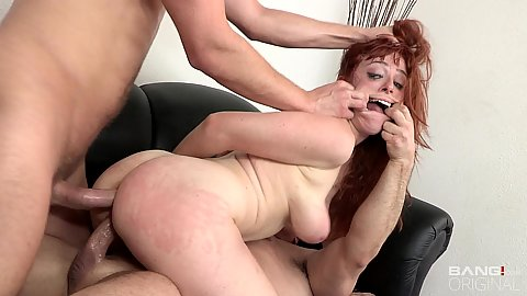 Fish hook rough sex punishment with natural body double penetrated hard stuffed redhead Penny Pax yelling for more
