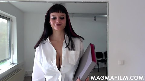 Brunete unbuttoned shirt cleavage showing off nicely raven haired girl is our new super horny alternative secretary