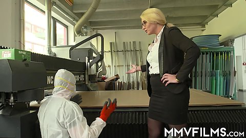 Blonde office businesswoman Tatjana Young has a problem with her factory overheating and sucks off her worker
