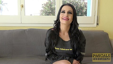 Smiling raven haired milf in reality inteview before sex with Bianka Blue