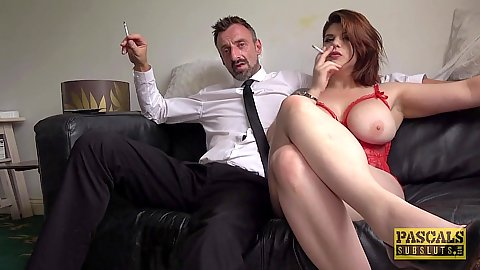 Lets have a smoke before we get into rough punishing dick through pants deep throat gagging with feisty Candice Banks and Lucia Love