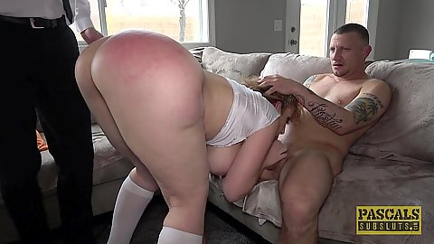 Red ass nice punishment of a rough fuck and mouth fingered blonde big chested milf Sara Jay with two guys working on her today