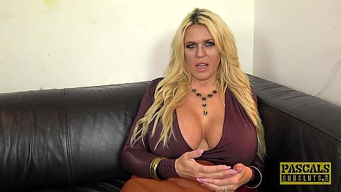 Really massive size juggs milf Shannon Boobs giving a before sex behind the scenes interview on our couch