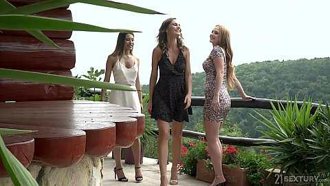 Super fine three ladies on a romantic retreat in the cabin in the forest with Roxy Lips and Kaisa Nord and Tina Kay