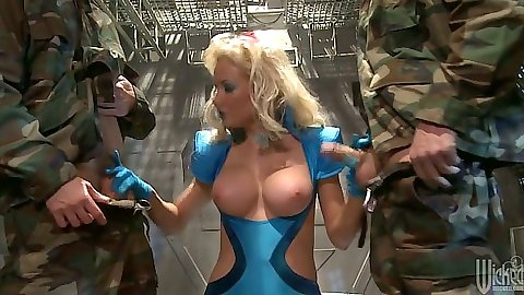 Busty Margo Russo getting two army cocks to lick and suck