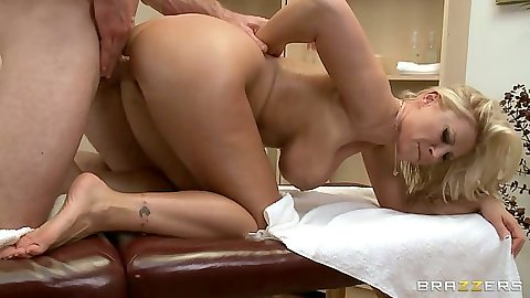 Doggy style with Devon Lee on massage table and her big butt