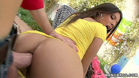 Doggy style anal fuck with Jynx Maze outdoors
