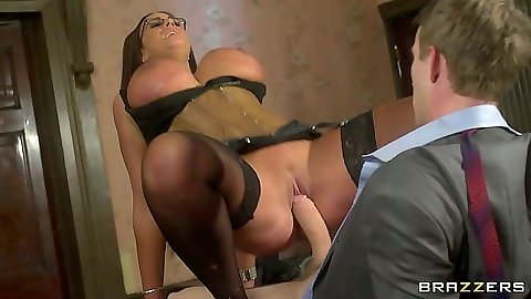 Reverse cow girl big tits milf Emma Butt sitting on big dick in office