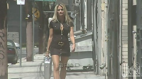jessica drake taking a walk outdoors and hitting her house