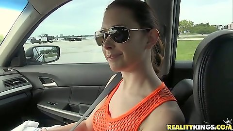 Redhead Melody Jordan going for a drive and a boat ride outdoors