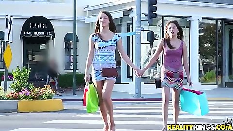 Lesbian Malena Morgan and Shyla Jennings taking a walk outdoors then kissing with tongue