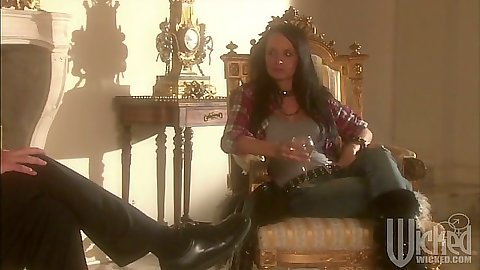 Brunette babe Alektra Blue sitting in her throne