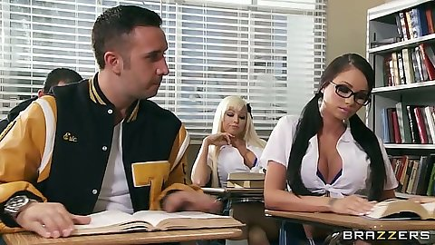 School girl college making in class with Rikki Six and Raven Bay