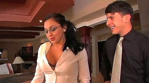 Audrey Bitoni in her glasses sucks dick