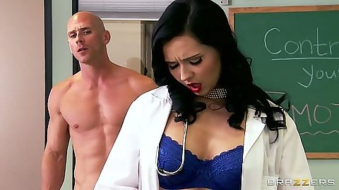 Naughty brunette doctor sluts Angell Summers and Allison Star