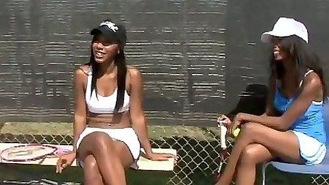 Outdoors ebony sporty tennis bitches Rane & Monica