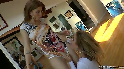 Sheena Shaw and Brooklyn Lee undressing each other lesbians and punching nipple