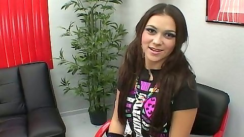 Office brunette teen Candy proceeding to suck