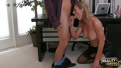 Blowjob with milf Brenda James in the office under the table