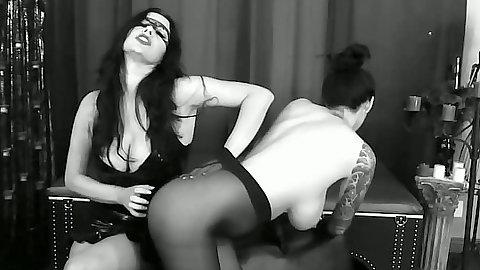 Lesbian stockings fetish spanking scene with pantyhose Tera Patrick and Anastasia Pierce