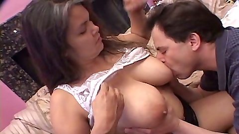 Licking nice big mature tits and hair pussy up her dress fuck