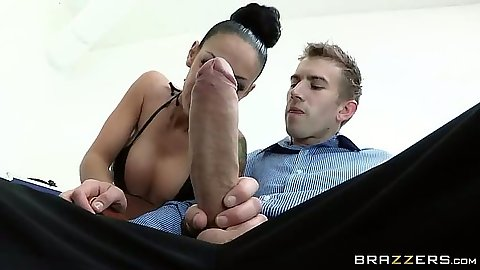 Latina big dick office blowjob and screwing with squirter Angelina Valentine
