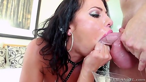 Deep throat and gagging with rough sex cum dripping slut Adriana Chechik