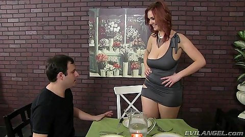 Redhead fully clothed Siri having a diner with two males in cuckold