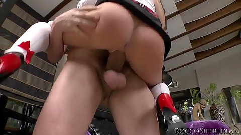 Slender school girl in the air fuck from no underwear in uniform girl Wendy Moon and Angel Wicky