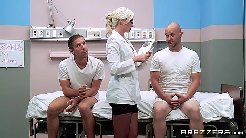 Doctor threesome Gigi Allens examines patients dick